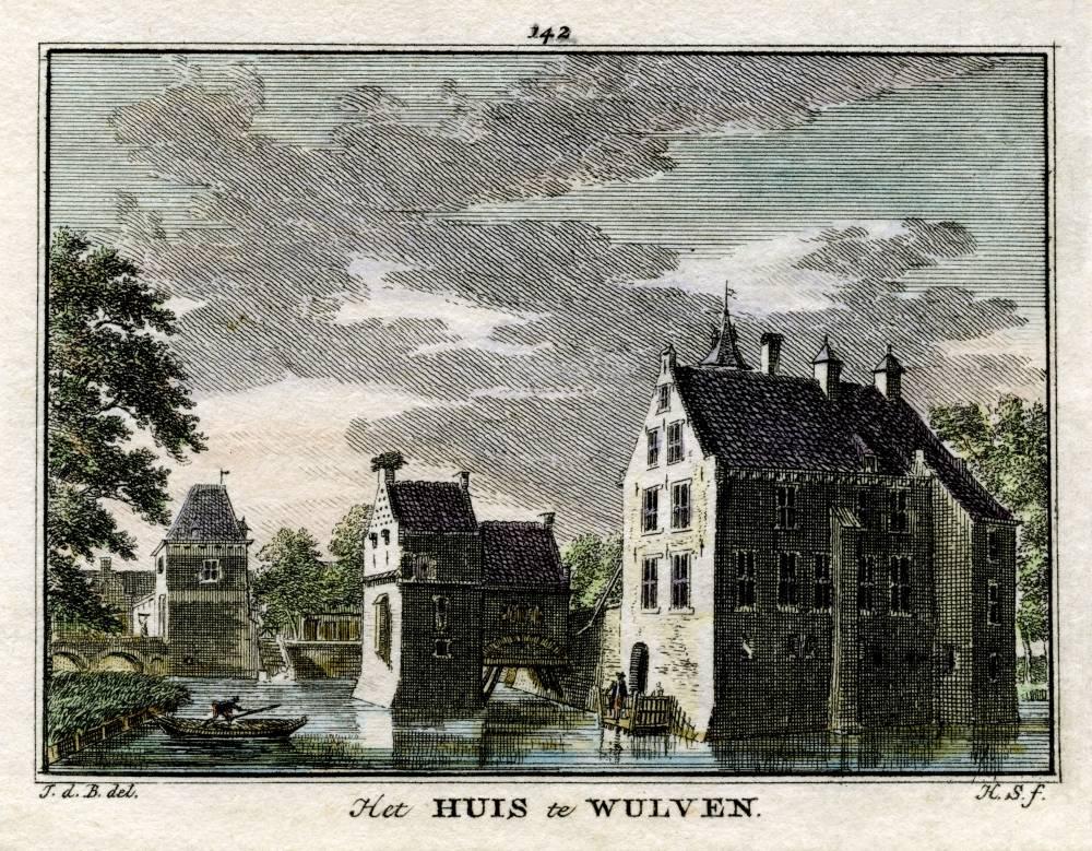 Kasteel Wulven in Houten. Tekening Jan de Beijer, gravure Hendrik Spilman (Uit: Het Verheerlykt Nederland, Isaac Tirion, 1745/1774)